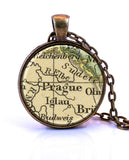 Prague, Czech Republic Map Pendant Necklace - created from a 1909 map.-Small Pendant-Paper Towns Vintage