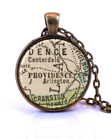 Providence, Rhode Island Map Pendant Necklace - created from a 1927 map.-Small Pendant-Paper Towns Vintage