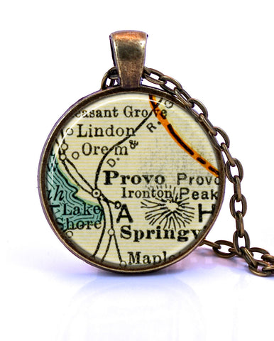 Provo, Utah Map Pendant Necklace - created from a 1937 map.-Small Pendant-Paper Towns Vintage