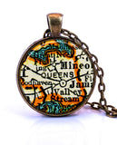 Queens, New York Map Pendant Necklace - created from a 1937 map.-Small Pendant-Paper Towns Vintage