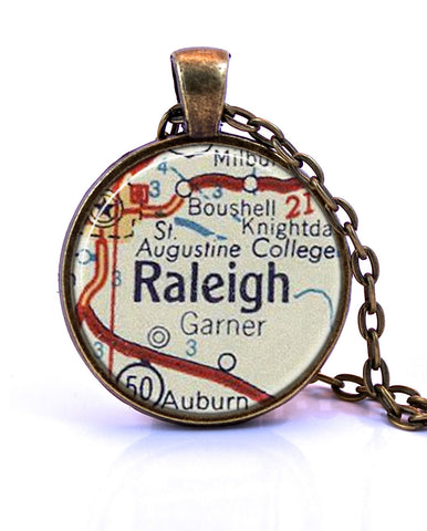 Raleigh, North Carolina Map Pendant Necklace - created from a 1956 map.-Small Pendant-Paper Towns Vintage