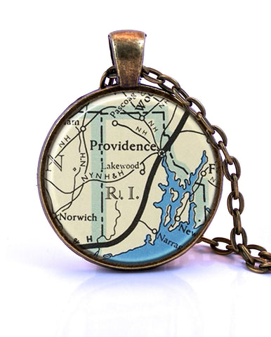 Rhode Island Map Pendant Necklace - created from a 1958 map.-Small Pendant-Paper Towns Vintage