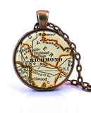 Richmond, Virginia Map Pendant Necklace - created from a 1937 map.-Small Pendant-Paper Towns Vintage