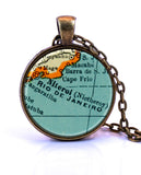 Rio De Janeiro, Brazil Map Pendant Necklace - created from a 1937 map.-Small Pendant-Paper Towns Vintage