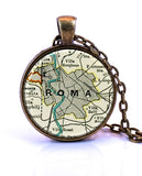 Rome, Italy Map Pendant Necklace - created from a 1937 map.-Small Pendant-Paper Towns Vintage