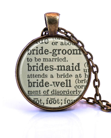 Bridesmaid Dictionary Pendant Necklace-Small Pendant-Paper Towns Vintage