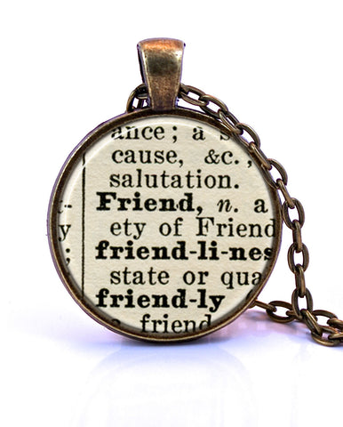 Friend Dictionary Pendant Necklace-Small Pendant-Paper Towns Vintage