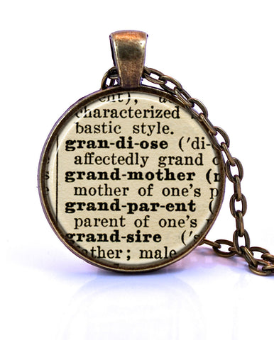 Grandmother Dictionary Pendant Necklace-Small Pendant-Paper Towns Vintage