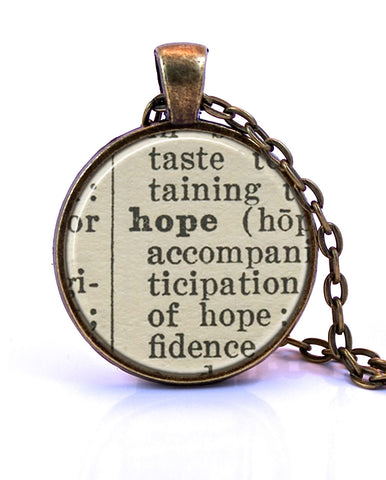 Hope Dictionary Pendant Necklace-Small Pendant-Paper Towns Vintage