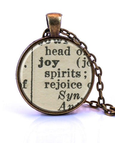 Joy Dictionary Pendant Necklace-Small Pendant-Paper Towns Vintage