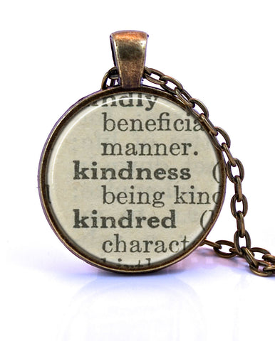 Kindness Dictionary Pendant Necklace-Small Pendant-Paper Towns Vintage