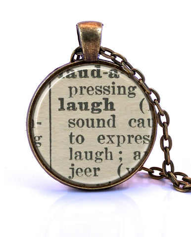 Laugh Dictionary Pendant Necklace-Small Pendant-Paper Towns Vintage