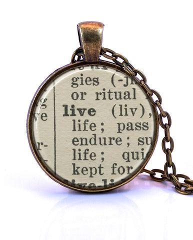 Live Dictionary Pendant-Small Pendant-Paper Towns Vintage