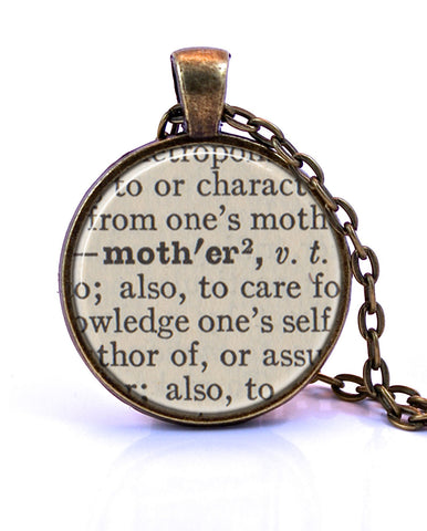 Mother Dictionary Pendant Necklace-Small Pendant-Paper Towns Vintage