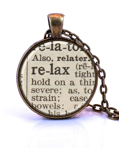 Relax Dictionary Pendant-Small Pendant-Paper Towns Vintage