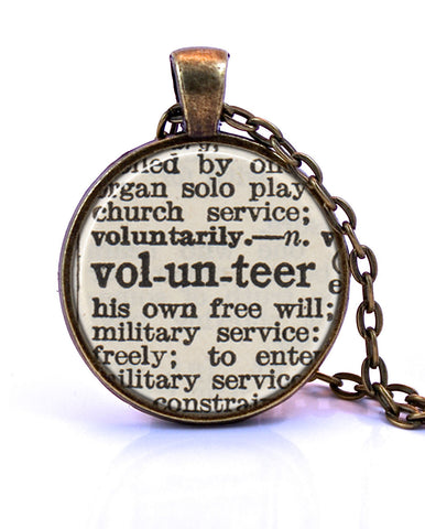 Volunteer Dictionary Pendant-Small Pendant-Paper Towns Vintage