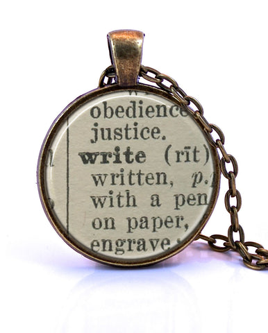 Write Dictionary Pendant-Small Pendant-Paper Towns Vintage