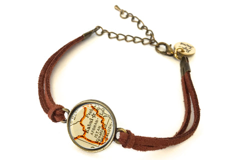 Afghanistan Map Bracelet - created from a 1937 Map.