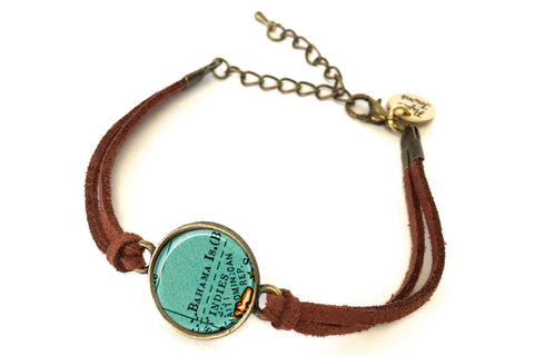 Bahama Islands (Bahamas) Map Bracelet - created from a 1937 Map.