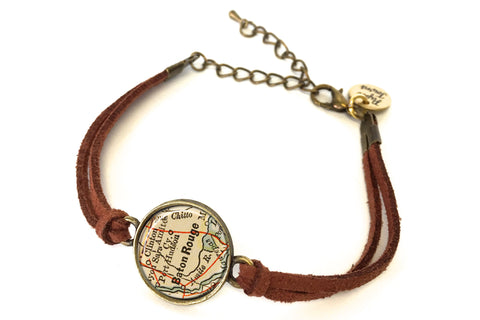 Baton Rouge, Louisiana Map Bracelet - created from an 1885 Map.