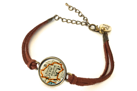Bolivia Map Bracelet - created from a 1937 Map.