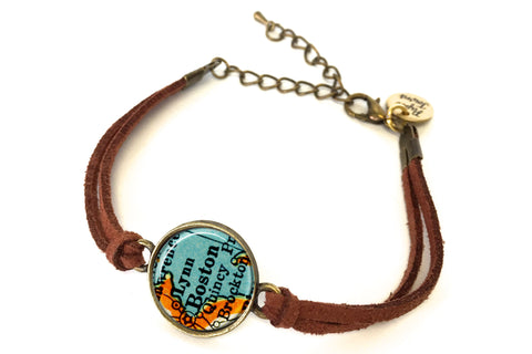 Boston, Massachusetts Map Bracelet - created from a 1937 Map.