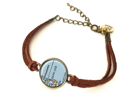 Cape Cod, Massachusetts Map Bracelet - created from a 1958 Map.