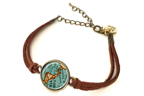 Central America (Nicaragua, Costa Rica, Panama) Map Bracelet - created from a 1937 Map.