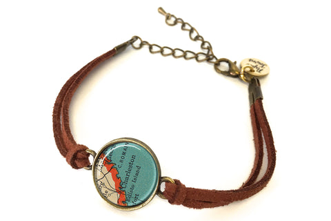 Charleston, South Carolina Map Bracelet - created from a 1937 Map.