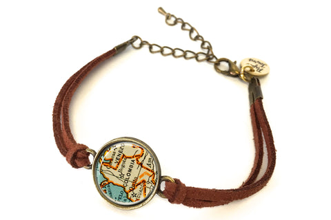 Colombia Map Bracelet - created from a 1937 Map.