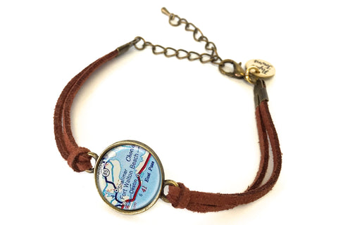 Fort Walton Beach, Florida Map Bracelet - created from a 1956 Map.