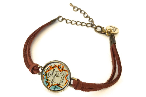 France Map Bracelet - created from a 1937 Map.