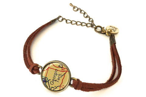 Georgia Tech Map Bracelet - created from a 1956 Map.