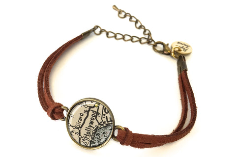 California Map Hollywood.Hollywood California Map Bracelet Created From A 1938 Map