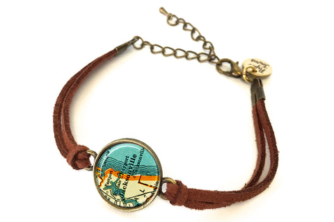 Jacksonville, Florida Map Bracelet - created from a 1937 Map.