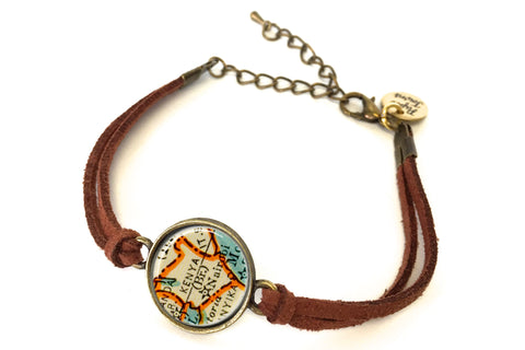 Kenya Map Bracelet - created from a 1937 Map.