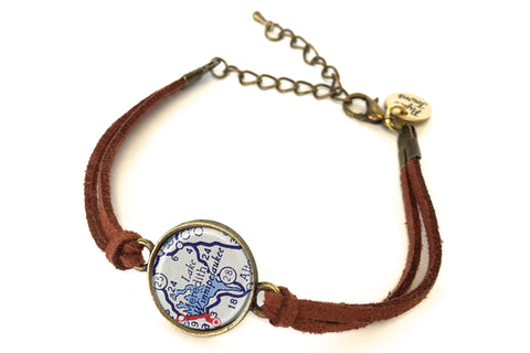 Lake Winnipesaukee, New Hampshire Map Bracelet - created from a 1956 Map.