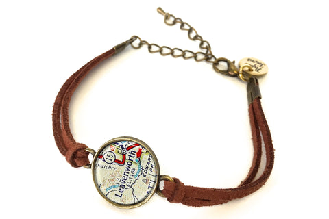 Leavenworth, Washington Map Bracelet - created from a 1956 Map.