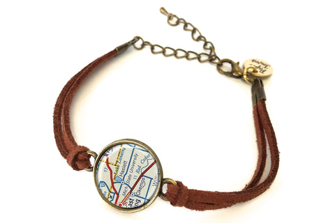 Michigan State University Map Bracelet - created from a 1956 Map.