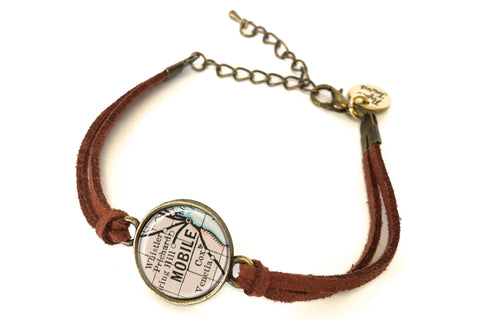 Mobile Alabama Map Bracelet by Paper Towns Vintage