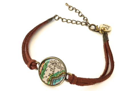 Morgantown, West Virginia Map Bracelet - created from a 1927 Map.