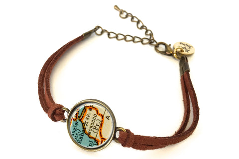 Morocco Map Bracelet - created from a 1937 Map.