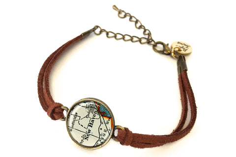 New Haven, Connecticut Map Bracelet - created from a 1937 Map.