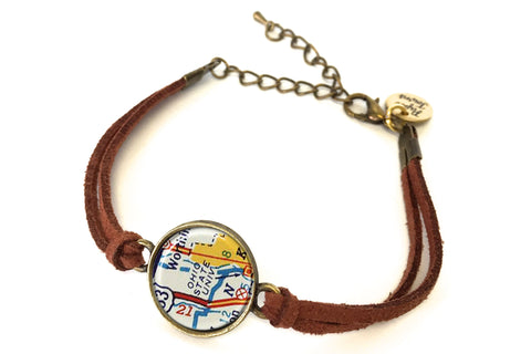 Ohio State University Map Bracelet - created from a 1956 Map.