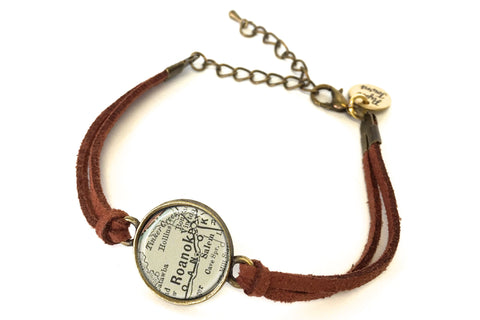 Roanoke, Virginia Map Bracelet - created from an 1891 Map.