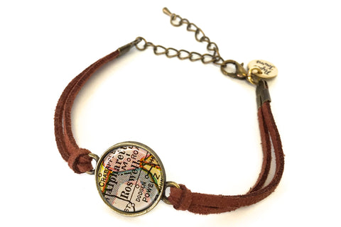 Roswell, Georgia Map Bracelet - created from a 1927 Map.