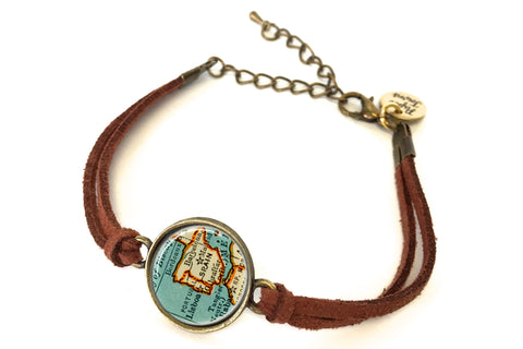 Spain & Portugal Map Bracelet - created from a 1937 map.