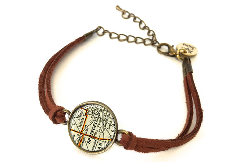 Springfield, Illinois Map Bracelet - created from a 1937 Map.