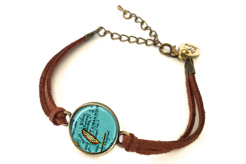 Taiwan Map Bracelet - created from a 1937 map.