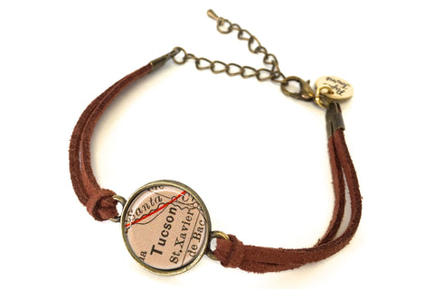 Tucson, Arizona Map Bracelet - created from an 1885 Map.